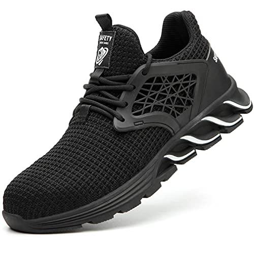 Zapatos de Seguridad Hombre Mujer Ligero Punta de Acero Zapatos Respirable Zapatos de Trabajo Antideslizante Botas de Seguridad Negro Talla 40