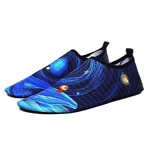 KDOAE Calzado de Agua para Hombres y Mujeres Hombres y Zapatos de Playa de Las Mujeres de Peso Ligero de Secado rápido Barefoot Snorkeling Calcetines Natación en la Playa (Color : Blue, Size : 35-36)