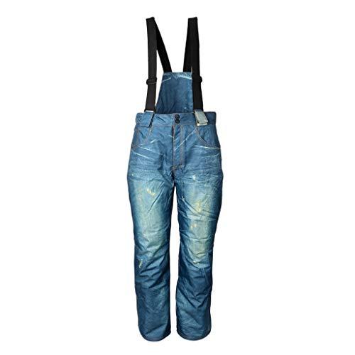 Baoblaze Wasserdicht Herren Skihose Warm gefüttert Trägerhose Jeans Snowboardhose Berghose Trekkinghose Wanderhose - L
