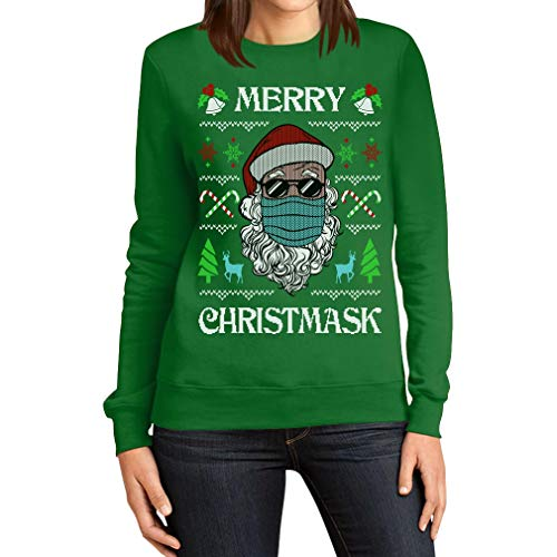 Merry Christmask Damen Ugly Christmas Sweater Nikolaus Maske Frauen Sweatshirt Large Grün