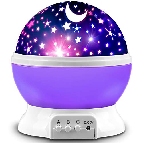 Star Projector, MOKOQI Night Light Lamp Fun Gifts for 1-4-6-14 Year Old Girls and Boys Rotating Star Sky Moon Light Projector for Kids Bedroom Decor (Purple)