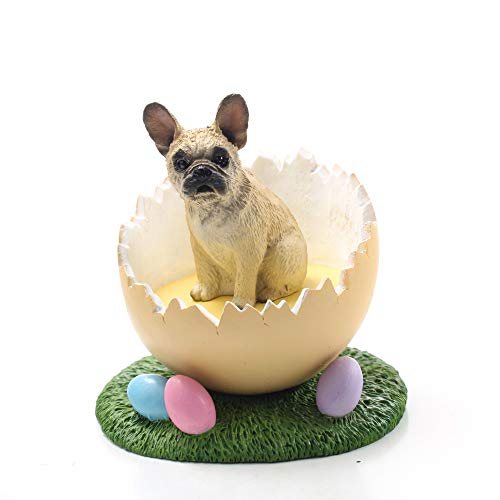 Conversation Concepts Easter Egg French Bulldog Fawn Figurine – Easter Statue Gift: Realistic Hand Painted Sculpture, Nursery, Home Office Desk Decor, Spring Shower Present