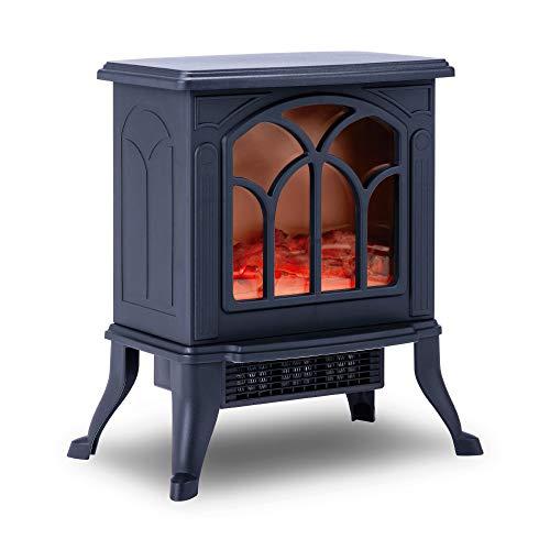 Chimenea Eléctrica Classic Flame, Calefactor Cerámico Termoventilador Llama Decorativa, Chimenea portátil, Termostato, 2 Niveles, Sensor Seguridad Sobrecalentamiento, 750/1000W, 355x465x250mm
