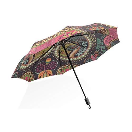 Paraguas Hippie Corazón colorido Mandala Paisley 3 pliegues Ligero Anti-UV