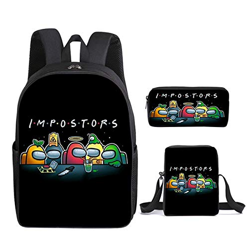 Among US 3pcs Backpack, Kids School Bags Student Bookbag for Girls Teens Game Fans Gifts, Among US Game Printing Bags, Teenage Boys Girls School Bag Travel Bag Pencil Case (3)