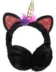 FENICAL orejeras niñas unicornio felpa fundas para los oídos sombreros lindo dibujos animados orejeras para mujeres niñas - rosa