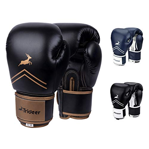 Trideer Pro Grade Boxing Gloves for Men & Women, Kickboxing Bagwork Gel Sparring Training Gloves, Muay Thai Style Punching Bag Mitts, Fight Gloves (Black & Golden, 16 oz)
