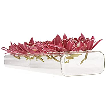 Chive - Hudson 24  Large, Long Rectangle Unique Clear Glass Flower Vase, Long and Low Laying Elegant Centerpiece Vase, Decorative Vase for Home Decor and Weddings, one of Oprah's Favorite Things!