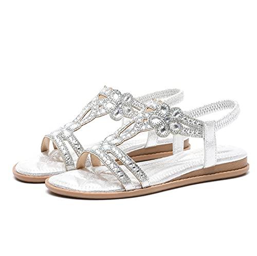 KovBexJa Sandalias Planas De Goma Huecas De 3 cm con Diamantes De Imitación para Mujer Bohemio Moda Informal Vacaciones Playa Zapatos para Mujer Plata