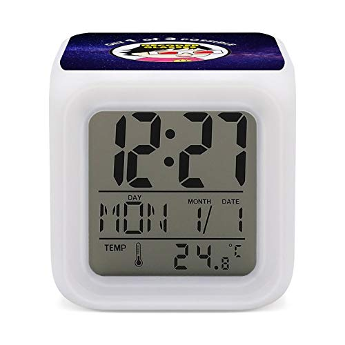 R-yan Toy Reviews Digital Alarm Clock with Thermometer Function, 7-Color Night Light, Bedroom, Bedside Table Operation to Wake up