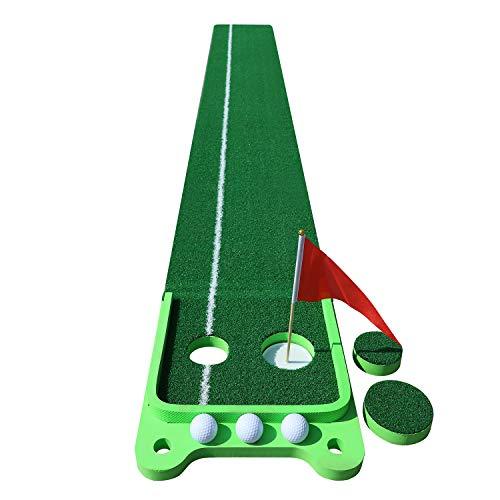 SHOWTIMEZ Puttingmatte Golf Übungsmatte, Indoor Outdoor Putting Green Trainer Matte für Zuhause Büro mit 3 Golfbälle