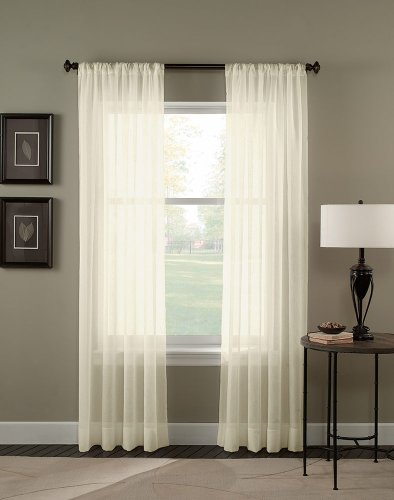 """Curtainworks Trinity Crinkle Voile Sheer Curtain Panel, 51 by 108"""", Oyster"""