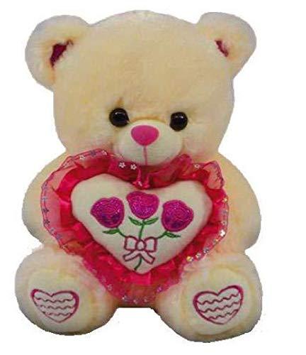 LOYFER Oso de Peluche 45cm Color Beige Regalo para Día de San Valentín con un corazón y 3 Rosas de Felpa Muy Suave Azul