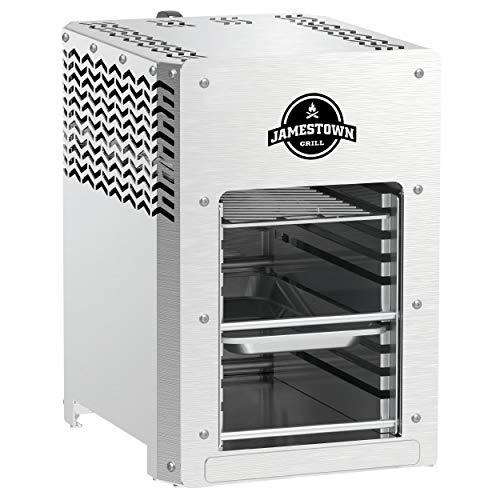 Jamestown BRAD Steakgrill mit Hochleistungs-Gasbrenner für Temperaturen von bis zu 800°C inkl. praktischer Fett-Auffangschale | Hochwertiger Gasgrill für die Zubereitung Perfekter Beef-Steaks