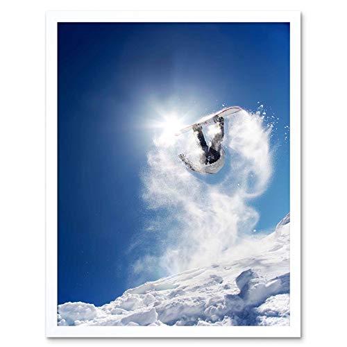 Wee Blauwe Coo Fotografie Sport Actie Snowboard Jump Air Sneeuw Art Print Ingelijste Poster Muurdecoratie 12X16 Inch