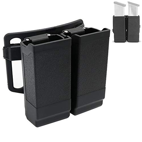 LThyzszb Double Magazine Pouch Fit 9mm 10mm .40 .45 Universal Mag Pouch for Glock Series & 1911 & M9 & P1 Magazine Holder, with Adjustable Belt Clip (Black)