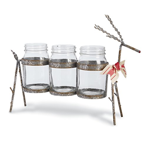Mud Pie Farmhouse Galvanized Tin Holiday Reindeer Mason Jar Caddy, Red/White