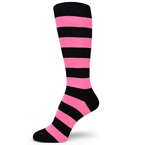 Spotlight Hosiery Two Color Striped Mens Dress Socks,Black/Bright Pink