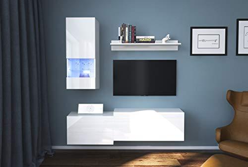 Home Direct Modena N290 Weiß Modernes Wohnzimmer Wohnwand Wohnschrank Schrankwand Möbel Mediawand (AN290-17W-HG24 1A klein, Led Blau)