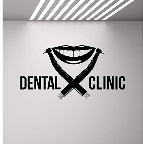 Tandheelkundige Kliniek Muur Sticker Tandarts Logo Boor Glimlach Stomatologie Tandheelkundige Stoffen Poster Muurschildering Verwisselbare Citaat Venster Sticker 81X42Cm