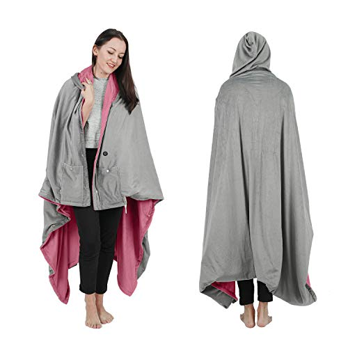 """Wearable Electric Blanket, Portable Poncho Wrap, Cordless Rechargeable Heated Shawl Blanket, Super Soft & Warm Fleece, Home Office & Travel Use, Machine Washable, Pink, 70""""X60"""""""