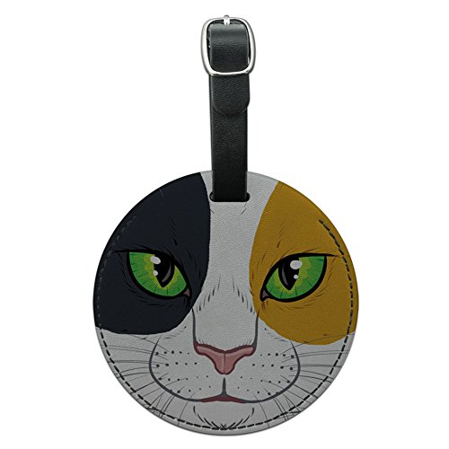 Graphics & More Calico Cat Face Pet Kitty Round Leather Luggage Id Tag Suitcase Carry-on, Black