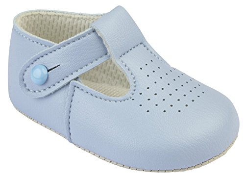 Baypods baby boys traditional T bar pram shoes Early Days 3-6 months SKY BLUE