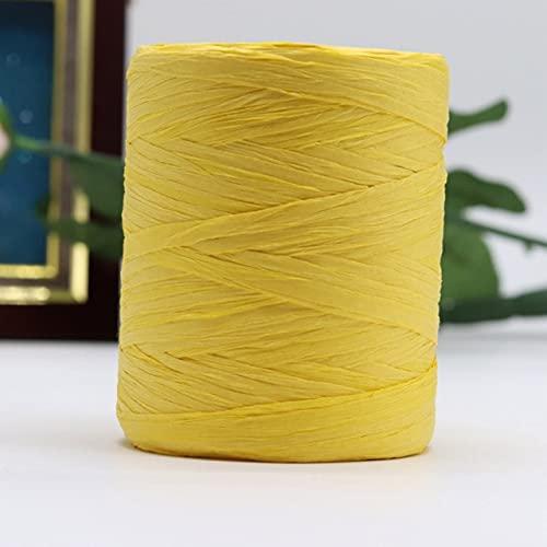 JIUFU Nuevo Hilo de Rafia para Crochet Bolsa de Rafia 180 Metros/Rollo Moda Verano Hilo de Tejer a Mano Paja Sol