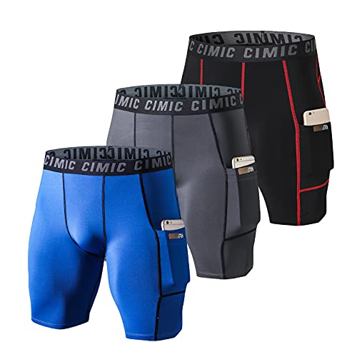 frueo 3 Piezas Mallas Running Hombre Mallas Cortas Hombre Pantalón Corto Hombre de Fitness Gym con Bolsillos(0409) Black Gray Blue-2XL
