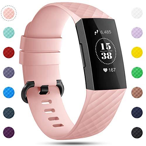 Onedream Correa Compatible para Fitbit Charge 3 Pulsera y Charge 4 Correa Mujer Hombre Strap Recambio Sport Band (sin Reloj), S / L