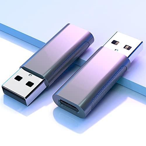 Adaptadores USB C Hembra a USB Macho 2-Pack USB C a A con Carga Rápida y Sincronización de Datos USB3.0 Gen2,Compatible con el Phone 12 11,Samsung Galaxy Note 10 S20 Plus 20 S21 21 Ultra,Google Pixel