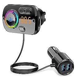 Bluetooth 5.0 et Son Clair: Transmetteur FM adopte la dernière puce bluetooth 5.0 fournit une connexion plus stable. Le microphone haute performance avec technologie de suppression de bruit CVC / A2DP vous donne un appel clair et la musique stéréo. N...