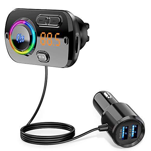 Transmetteur FM Bluetooth 5.0 Adaptateur Radio sans Fil Kit de Voiture Mains Libres, QC3.0 et 5V/2.4A Chargeur Rapid Voiture 2 Ports USB Lumière Colorée Support Siri TF Card Port Audio 3,5mm