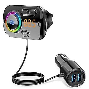 【2020 Versión】 Transmisor FM Bluetooth 5.0 Manos Libres Coche con 7 Colores Luz, Reproductor MP3 Coche Carga Rapida QC3.0, 2 USB 5V/3A&2.4A Inalámbrico Kit de Coche Soporte Tarjeta TF 32G, AUX, SIRI
