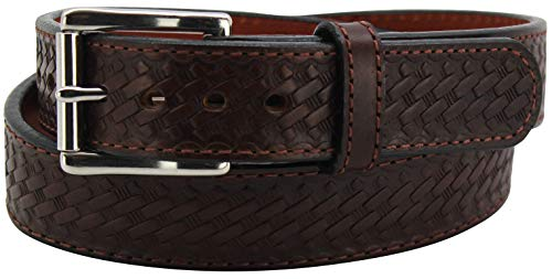 """Basket Weave Steel Core Gun Belt Thick CCW 1.50"""" Wide - Made in USA - Brown, 38"""