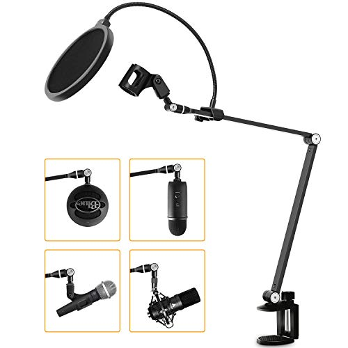 """Viozon Microphone Arm Stand, with Pop Filter, 3/8"""" to 5/8"""" Adapter, compatible for Blue Yeti Nano Snowball Ice and Other Mics, Recordings, Broadcasting, Streaming, Singing"""