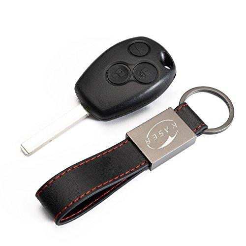 Schlüssel Gehäuse Fernbedienung für Renault 3 Tasten Autoschlüssel Funkschlüssel Clio Modus Twingo Kangoo mit Leder Schlüsselanhänger KASER