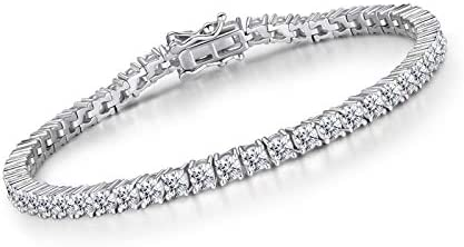 18ct 5mm White, Yellow Gold Bling Bracelet for Men Women's Hip Hop Diamond Tennis Bracelets Gold Plated 7