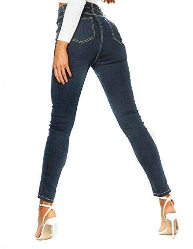 Pantalones vaqueros ajustados de cintura alta para mujer, tallas grandes