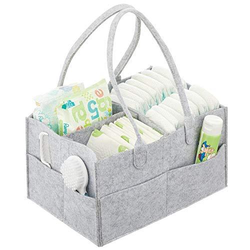 mDesign Bolso organizador para cambiador – Canastilla de bebé portátil con 4 divisiones y bolsillos – Organizador de pañales de fibra sintética con asa para aceites, chupetes y más – gris claro