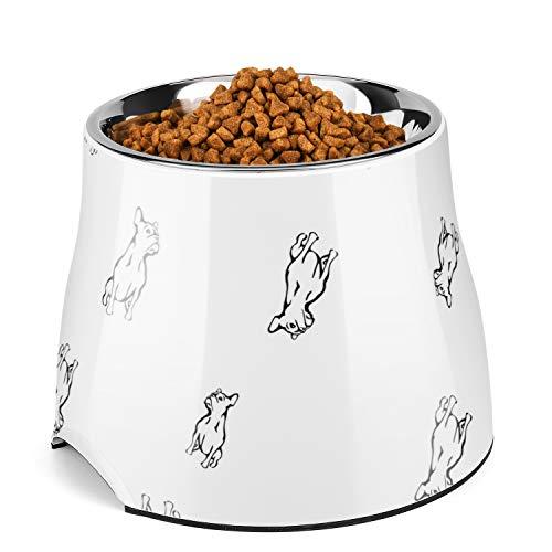 Flexzion Erhöhter Futternapf - mit herausnehmbarer Edelstahlschüssel Gummiring auf der Unterseite Rutschfester Napfständer Futterstation für Haustiere Aller Größen, bis zu 700 ml(Bulldogge-Weiß)