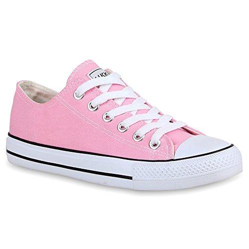 stiefelparadies Damen Sneakers Turn Freizeit Low Sneaker Übergrößen Prints Glitzer Denim Schuhe 25895 Rosa Ambler 42 Flandell