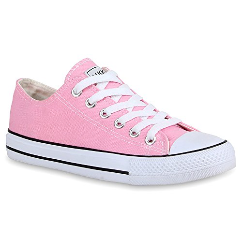 stiefelparadies Damen Sneakers Turn Freizeit Low Sneaker Übergrößen Prints Glitzer Denim Schuhe 25895 Rosa Ambler 41 Flandell
