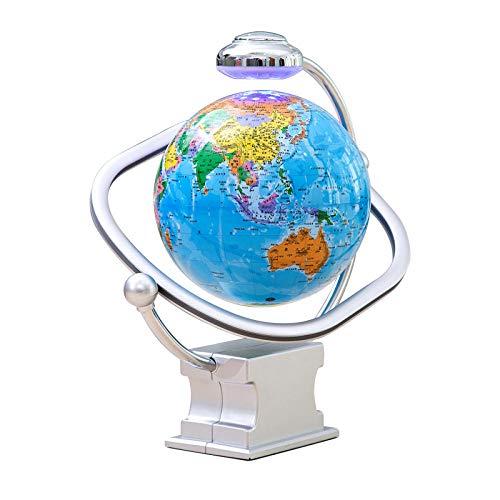 8 Pulgadas Bola Mundo Decoracion con Luces Color LED,Cielo Azul Globo Mundo Flotante para Escritorio, Oficina, Decoración Del Hogar, Los Niños Aprenden Conocimientos de Geografía para El Hogar, Decor
