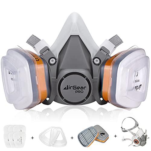AirGearPro M-500 Atemschutzmaske mit Filter, Gasmaske Staubfilter für Lackieren, Arbeiten, Schleifen, Feinstaub