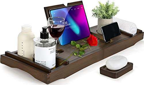 HBlife Bamboo Bathtub Caddy Tray [Durable, Non-Slip], One or Two Person Bath and Bed Tray, Extending Sides Fits Any Tub, Cellphone iPad and Wineglass...