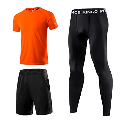 Hommes Compresseur Running Base Couche Capuche Collants Chemise Sports Pantalon Compression Leggings Workout Bodybuilding Breathable Sportswearut Bodybuilding Breathable Sportswear ( 3XL,Orange )