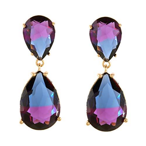 TEMPUS FUGIT. Pendientes Duo para mujer chapados en Oro, Antialérgicos, con cristales de colores. muy brillantes. Incluye una caja para regalo