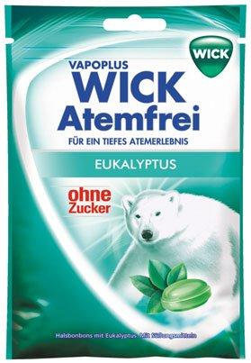 Wick Vapoplus Atemfrei Eukalyptus, Halsbonbons ohne Zucker - 72gr - 2x