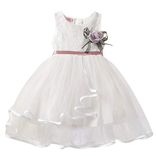 BUKINIE Robe de soirée Robe de Concours pour Filles,Robe Tutu à Fleurs en Dentelle Little Girls Robe de Princesse Fleurie Robe de Bal de Bal(Blanc,2-3 Ans)